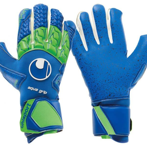 uhlsport.aquagrip.blauw.groen.keepershandschoenen.