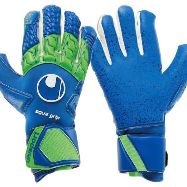 uhlsport.aquagrip.blauw.groen.keepershandschoenen.